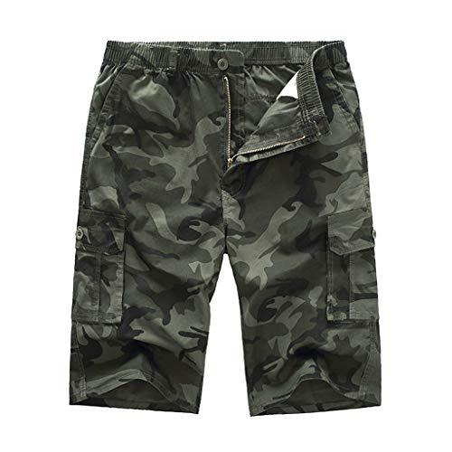 POHOK Camouflage Shorts Men Men's Casual Pure Color Outdoors Pocket Beach Work Trouser Cargo Loose Shorts Pant (3XL,Army Green) ()