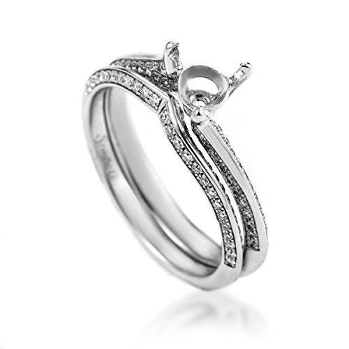 (Simon G. 18K White Gold Diamond Bridal Mounting Set MR1611)
