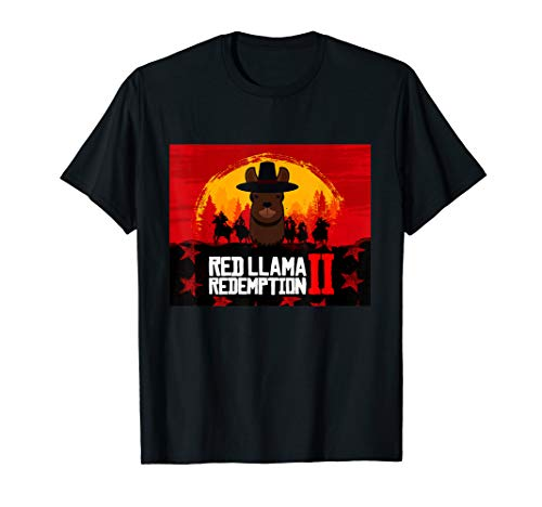 Red Llama Redemptions 2 Cowboy Sunset Horse Game Gift Tshirt