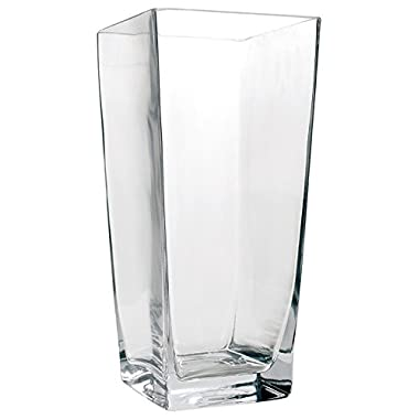 Flower Glass Vase Decorative Centerpiece For Home or Wedding by Royal Imports - Tall Square Tapered Shape, 10  Tall, 5 x5  Opening