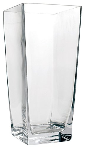 "Flower Glass Vase Decorative Centerpiece For Home or Wedding by Royal Imports - Tall Square Tapered Shape, 10"" Tall, 5""x5"" Opening"