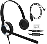 TruVoice Deluxe Double Ear Headset with Noise Canceling Microphone and a 2.5mm Adapter for Polycom IP 320, IP330, IP321, IP331, Cisco SPA, AT&T, VTech, Panasonic and All Phones with a 2.5mm Port