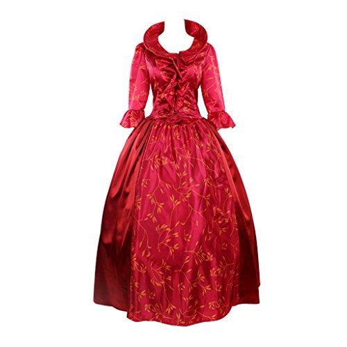 Dress roten Cosplayitem Prinzessin Ballkleid für Mittelalterkleid Damen Königin Party Rot Kostüm Rokoko Viktorianischen Hochzeit Rot BrB7zPx