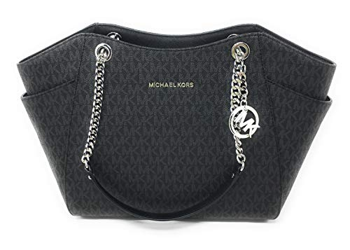 MICHAEL KORS SIGNATURE JET SET TRAVEL CHAIN SHOULDER TOTE BAG BLACK PVC ()