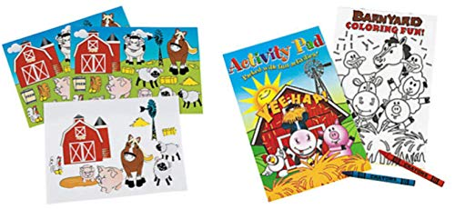 36 Piece Farm Animal Party Favor Set- Coloring Books, Crayons, and Stickers (Barn Animals Party Favors)