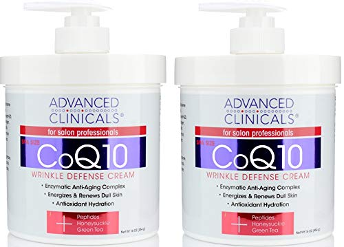 (Advanced Clinicals CoQ10 Wrinkle Defense Cream w/Peptides, Honeysuckle, Green Tea. Anti-wrinkle cream moisturizes dry, aging skin for a radiant look. For face, hands, body. 16oz (Two - 16oz))