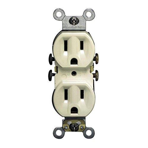 Leviton 5320-IMP 15 Amp, 125 Volt, Duplex Receptacle, Residential Grade, Self-Grounding, 10-Pack, Ivory