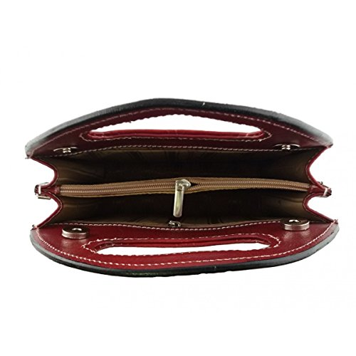 Borsa Donna A Mano In Pelle, Struttura Rigida Colore Rosso - Pelletteria Toscana Made In Italy - Borsa Donna