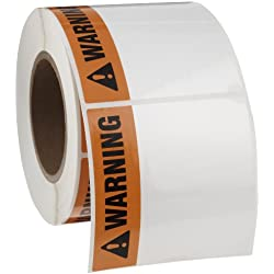 "Brady THTEL-161-483-1-WA 4"" Width x 4"" Height, B-483 Polyester, Orange with Black on White Warning Arc Flash Label (500 per Roll), Pack of 2"