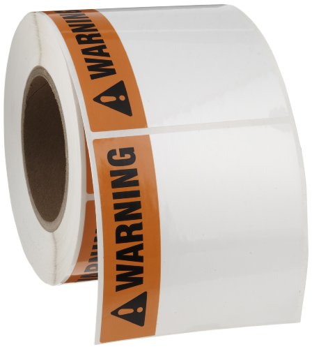 "Brady THTEL-161-483-1-WA 4"" Width x 4"" Height, B-483 Polyester, Orange with Black on White Warning Arc Flash Label (500 per Roll), Pack of 2"
