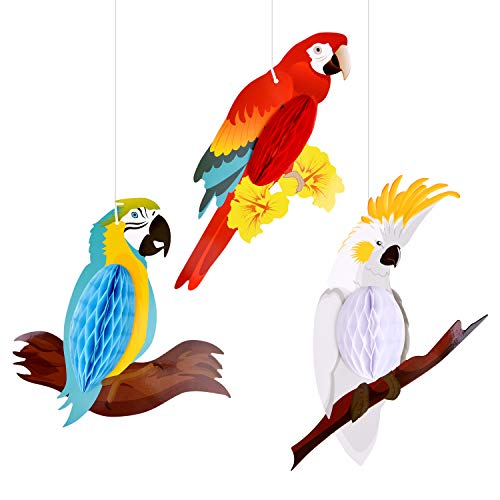TUPARKA 6 Pieces Tropical Birds Honeycomb Parrot Hawaiian Summer Beach Tiki Bar Luau Party Home Classroom Hanging Decorations(Parrot) ()