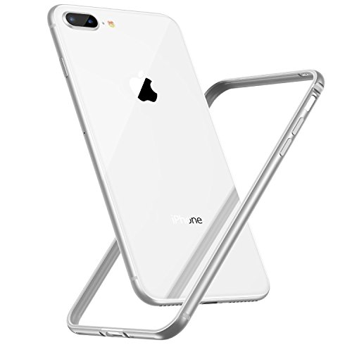 CASEKOO iPhone 8 Plus Bumper Case, iPhone 7 Plus case,Slim Design Aluminum Frame with Soft TPU Inner Edge Protective Bumper Case Compatible with iPhone 8 Plus/iPhone 7 Plus [Metal Series]-Silver
