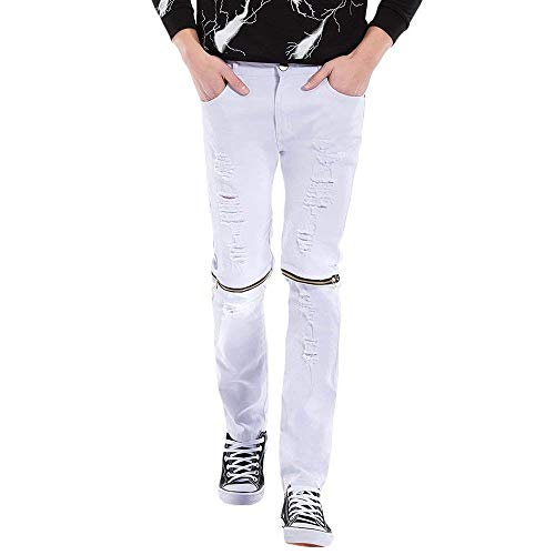 Whiteblack 36×32l Fit Uomo Vintage Moda color Pantaloni Denim Stretch Casual Distrutti Size Strappati Slim Jeans Da ZzqOPR