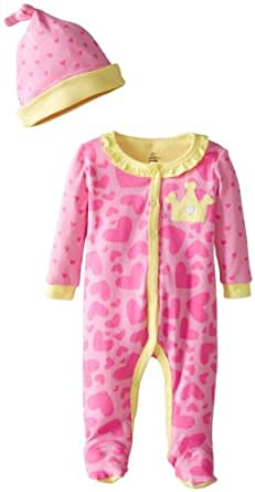 Petit Lem Baby-Girls Newborn Princess Of The Ocean Baby Sleeper and Hat, Pink Hearts, 3 Months