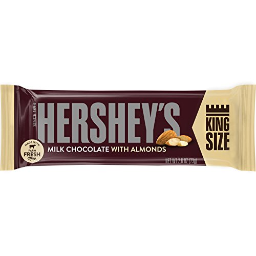 HERSHEY'S Chocolate Candy Bars with Almonds, King Size (Pack of 18)