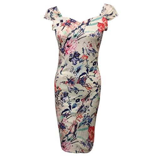 TIFENNY Sexy Party Dresses for Women Multicolor Pint Fashion Dress Short Sleeve Square Neck Ladies Holiday Dress