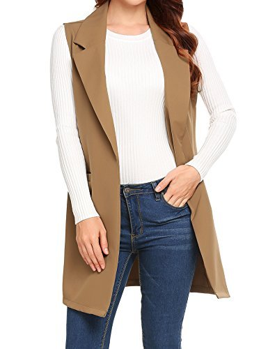 Showyoo Women's Long Sleeveless Duster Trench Vest Casual Lapel Blazer Jacket Khaki S