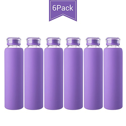 MIU COLOR Glass Water Bottles, Glass Drinking Bottle with Lids for Juicing or Beverage, Smoothies, Milk Container, to Go Sports, 16 oz, Leak Proof - BPA Free, 6 Pack