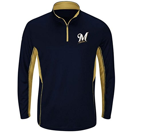Majestic Athletic Men's Milwaukee Brewers Navy Blue Big & Tall Check Swing Performance 1/4 Zip Pullover Fleece Sweatshirt (6X)