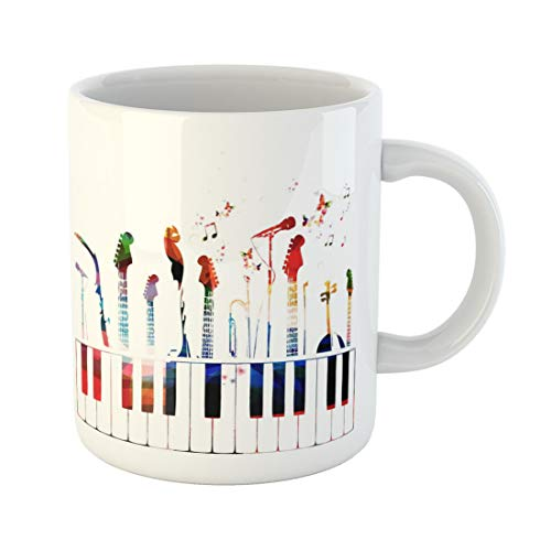 Semtomn Funny Coffee Mug Piano Colorful Music Instruments Color Guitar Modern Song Choir 11 Oz Ceramic Coffee Mugs Tea Cup Best Gift Or ()