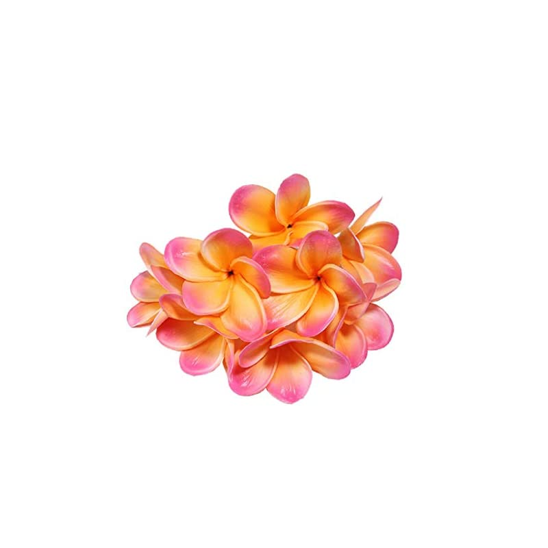 silk flower arrangements xilyya 10pcs natural real touch artificial not silk plumeria flowers head with stem for diy cake decoration and wedding bouquets (apricot)