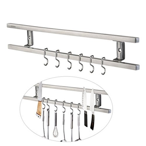 16u0027u0027 Magnetic Knife Holder Double Bar Rack Wall Mounted For Kitchen Sets By  Saruwan