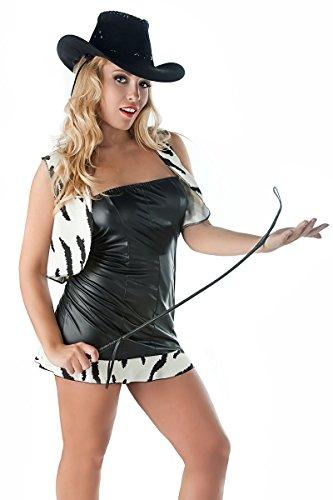 Größe Minikleid Kostüm mit Chemise Damen 54 56 Weste Kunstleder Muster Dessous Cowgirl in mit aus Sexy zebra schwarz RwZCqp