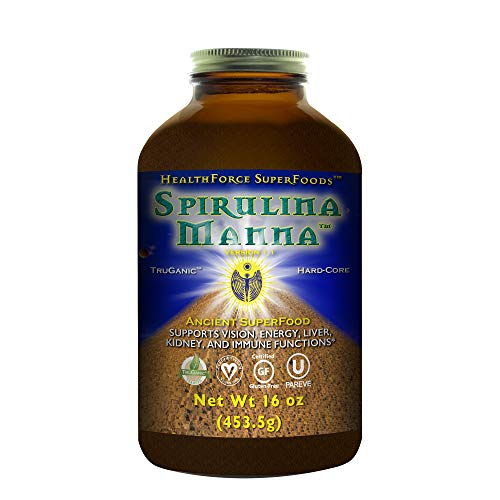 HealthForce SuperFoods Spirulina Manna - 16 oz Spirulina Powder - All Natural Nutrient Rich Superfood with Vitamins, Minerals, Amino Acids - Organic, Vegan, Gluten Free - 188 Servings