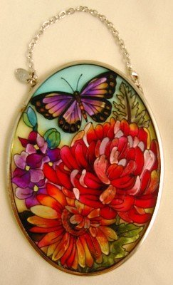 Amia Hand Painted Glass Suncatcher with Butterfly Floral Design, 3-1/4-Inch by 4-1/4-Inch Oval (Glass Indian Oval)
