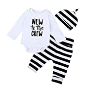 Sharemen Baby Girl Boy Letter Romper Tops+Pants Leggings+ Hat Outfits Set (0-6 Months, White)