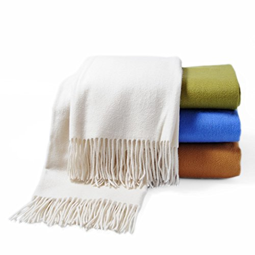(CUDDLE DREAMS Premium Cashmere Throw Blanket with Fringe, Luxuriously Soft (Ivory))