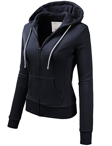 H2H Womens Active Comfy Slim Fit Full Zip Up Long Sleeve Hoodie Cotton Jacket Navy US S/Asia S (AWOHOL0133) (Blue Navy Jackets Us)