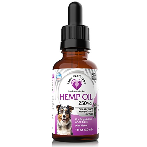 Max Wellness for Dogs & Cats Full Spectrum Organic 250mg Hemp Oil with Essential Omega 3-6-9 Fatty Acids. Supports Anxiety, Relaxation, Calming, and Joint Pain Relief. Mint Flavored-Made in (Relief Wellness Oil)
