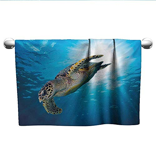 alisoso Turtle,Baby Towels Hawksbill Sea Turtle Dive Deep Into The Blue Ocean Against Sun Rays Bath Towels for Kids Yellow Brown Aqua Blue W 28