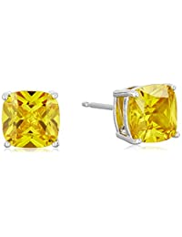 Platinum Plated Sterling Silver Cushion Cut Canary Yellow Cubic Zirconia Stud Earrings (5.8 cttw)