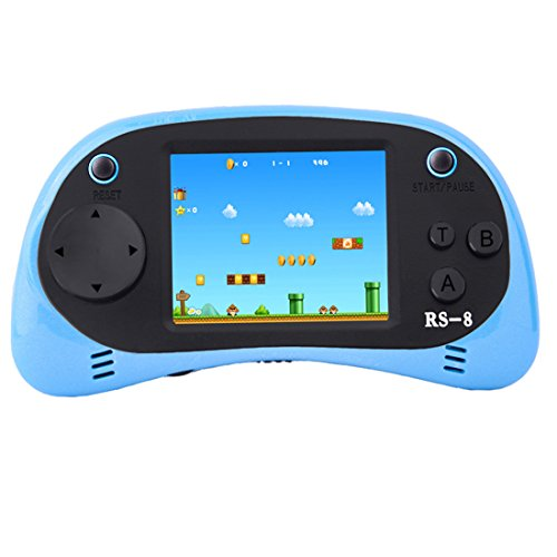 ZHISHAN Handheld Game Console for Children Built in 260 Classic Old Video Games Retro Arcade Gaming Player Portable Playstation Boy Birthday 8 Bit Rechargeable (Light Blue)