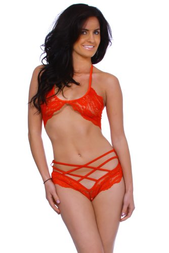 Simplicity Women Babydoll Lace Sheer Stripper Bra and Hot Short Panty