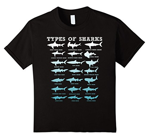 Kids 21 Types of Sharks Marine Biology T-Shirt 6 Black