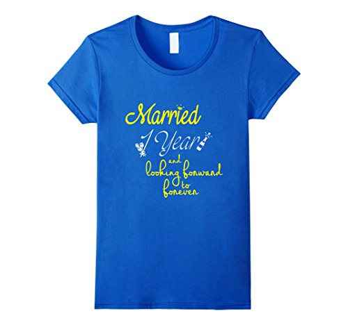 Womens First Wedding Anniversary Gifts for Him Her Couples T-Shirt Medium Royal Blue