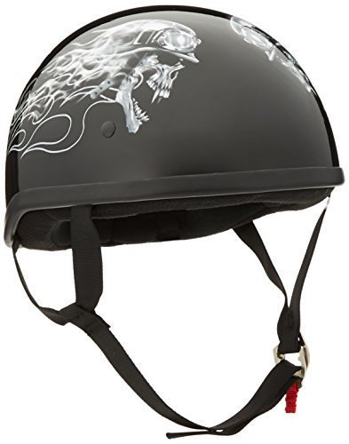 (Skid Lid Biker Skull Original Helmet (Black/White, Large))