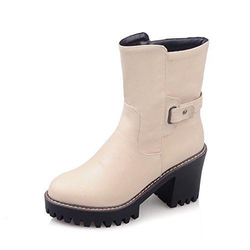 Boots Platform Buckle Chunky Beige Girls BalaMasa Leather Imitated Heels wt6xIq0