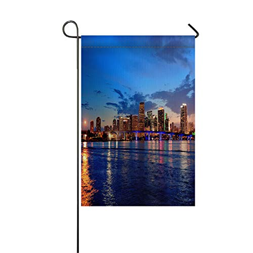 Miami Sea and City Night Scenes In the Evening Decorative Garden Flags Thick Polyester Fabric Weather Resistant Outdoor Flag House Yard Double Sided Flag for All Seasons Holiday Party 12 x 18 Inch]()