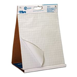 TOPS Easel Pad with Tabletop Easel, 30 Self Stick Sheets, White , 22 x 23 Inches (79250)