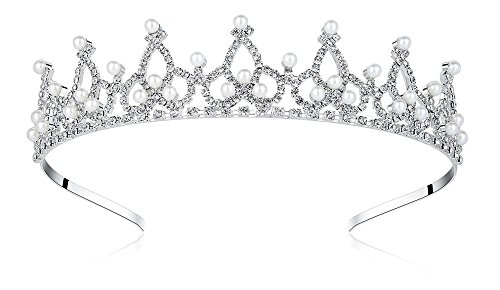Lovely Shop Royal Pearl Rhinestone Tiara with No Comb for Wedding Bridal Prom Birthday Pegeant Prinecess Crown ()