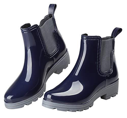 EYUSHIJIA Women's Short Rain Boots Waterproof Slip On Ankle Chelsea Booties (9 B(M), Navy-A) (Best Short Rain Boots)