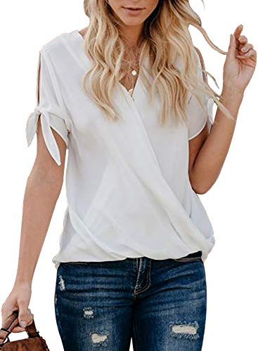 HOTAPEI Womens Casual Summer Tie Sleeve Wrap V Neck Chiffon Blouses Tops Shirts