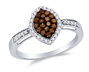 Size 8 - 10K White Gold Chocolate Brown & White Round Diamond Halo Circle Engagement Ring - Channel Set Marquise Center Setting Shape (1/3 cttw.)