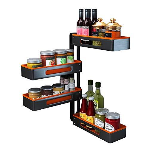Black Rotatable Kitchen Shelf Spice Rack Aluminum Punch Free Seasoning Shelf Wall-mounted Multifunction Shelf (Size : Four layers)