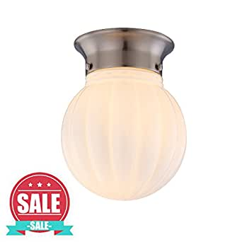 Brushed Steel Finish Ceiling Light Flush Mount, 1-Light White Ribbed Glass Globe Ceiling Lamp, WISBEAM