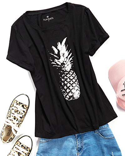 fuinloth Women's Graphic Tees, Short Sleeve Crewneck Cute T-Shirts, Printed Cotton Summer Tops Pineapple Black Medium ()